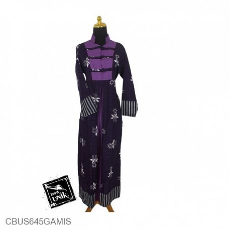 Baju Batik Sarimbit Gamis Motif Abstrak Kembang Kemuning