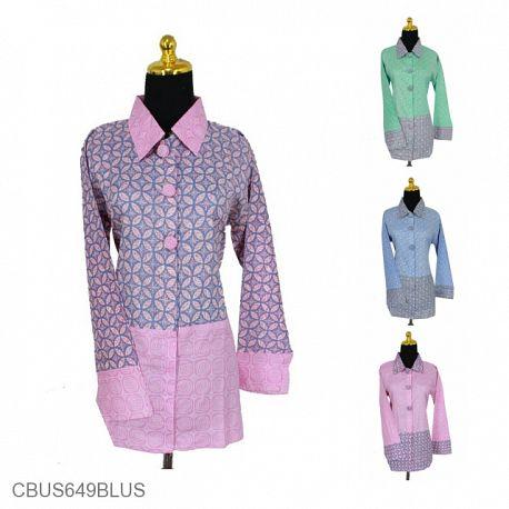 Baju Batik Sarimbit Blus Motif Kawung Kombinasi Warna Soft