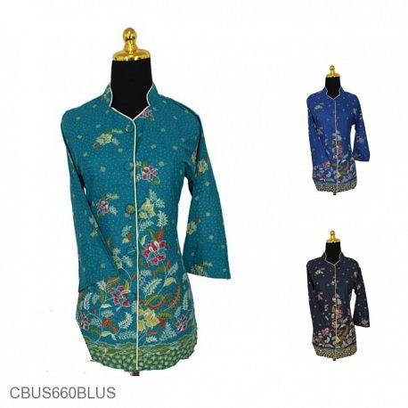 Baju Batik Sarimbit Blus Pekalongan Motif Buket Bunga Tumpal