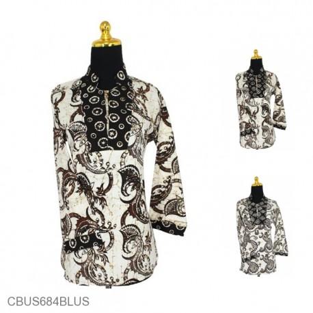 Baju Batik Sarimbit Blus Pekalongan Motif Sogan Putih