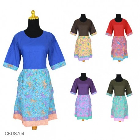 Baju Batik Sarimbit Dress Motif Godhong Tumpal