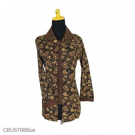 Baju Batik Sarimbit Blus Cappucino Motif Godhong Waru