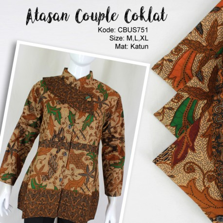 Baju Batik Sarimbit Blus Katun Motif Daun