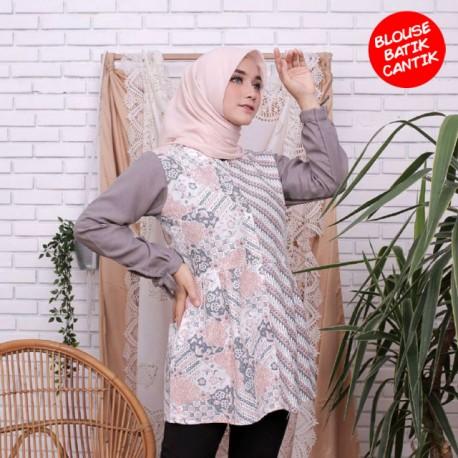 Blouse Amira Kombinasi Batik Abu