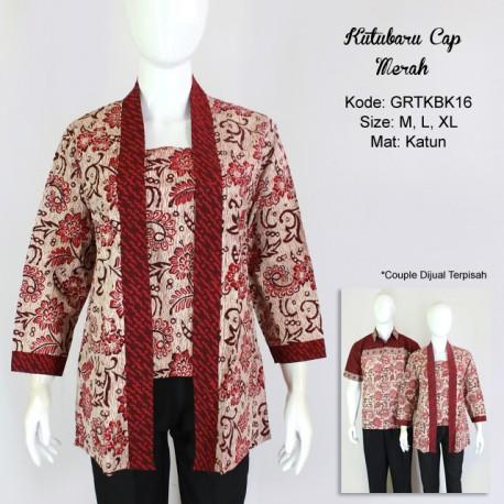 Blouse Batik Cap Atasan Kutubaru Warna Merah