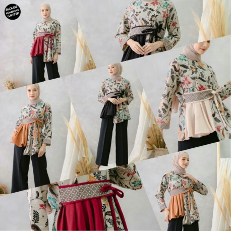 Blouse Batik Kombinasi Ayunda Merah