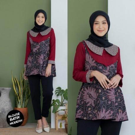 Blouse Batik Kombinasi Mosscrep Merah Resleting Depan