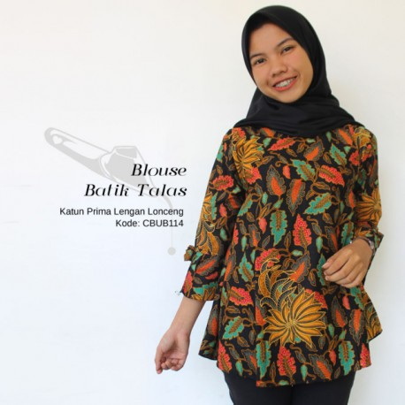 Blouse Batik Lengan Lonceng Motif Daun Talas