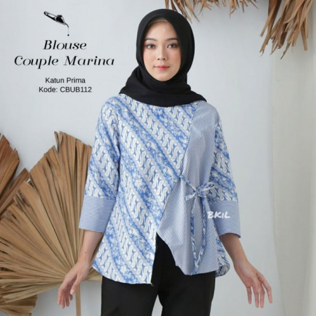 Blouse Batik Parang Biru Couple Marina