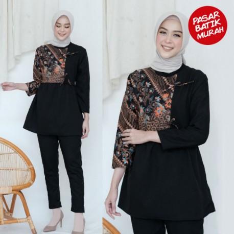Blouse Batik Peplum Vira Klasik Hitam