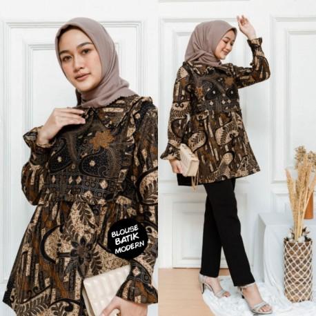Blouse Batik Wanita Katun Kancing Depan