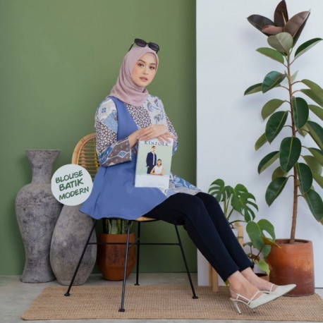 Blouse Batik Wanita Katun Kombinasi Mosscrep