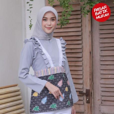 Blouse Citra Remple Batik Kombinasi Mosscrepe