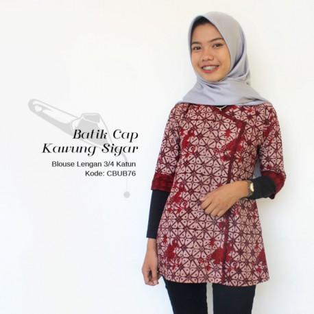 Blouse Wanita Lengan 3/4  Batik Cap Kawung Sigar