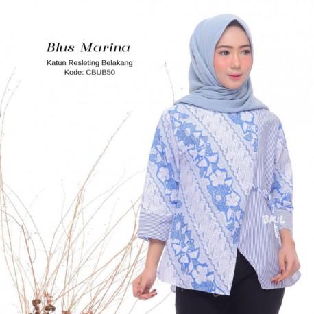Blus Batik Kombinasi Garis Marina