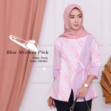 Blus Batik Kombinasi Garis Marina Pink