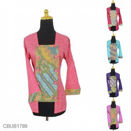 Blus Batik Panjang Kutu Baru Motif Abstrak Bunga Warna Soft