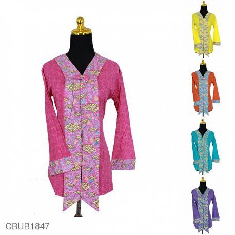 Blus Batik Panjang Motif Mega Mendung Kombinasi Warna