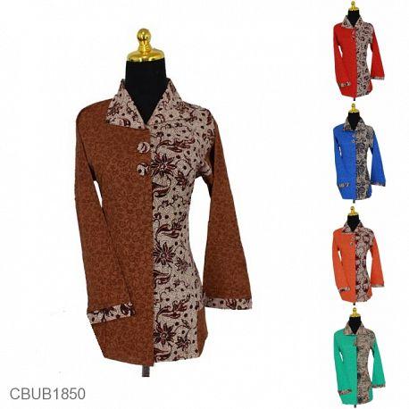 Blus Batik Panjang Kombinasi Motif Bunga Dedaunan Warna
