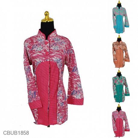 Blus Batik Panjang Motif Abstrak Bunga Warna