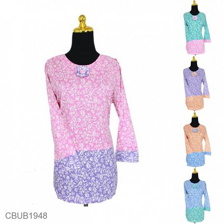 Blus Batik Panjang Motif Kembang Tangkai