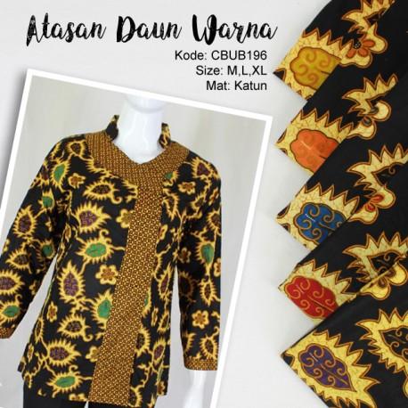 Blus Batik Panjang Katun Daun Warna