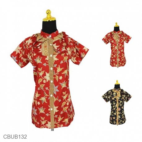 Blus Batik Sunwash Pendek Bunga