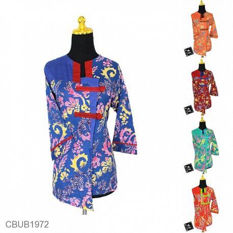 Blus Batik Tanggung Motif Daun Warna
