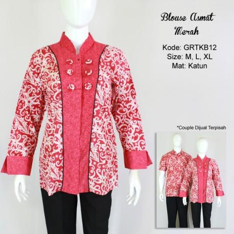 Blus Motif Kalimantan Kombinasi Merah