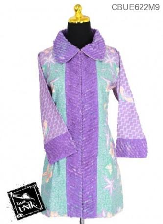 Blus Trikot Batik Kombinasi Sobek Bulu Motif Wadas Kawung