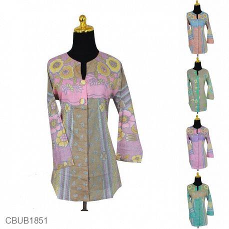 Blus Tunik Panjang Katun Motif Bunga Kamboja