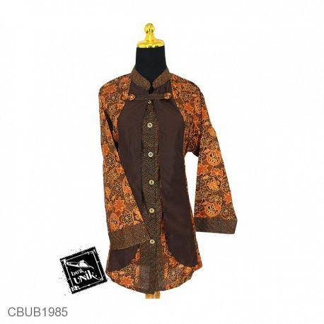 Blus Tunik Tanggung Motif Capocino Tumpal Size XXL