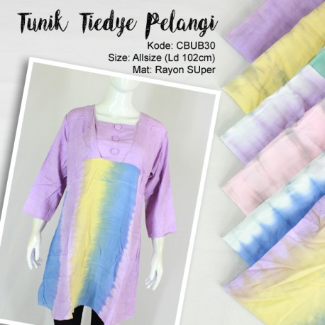 Blus Tunik Tiedye Pelangi Rayon