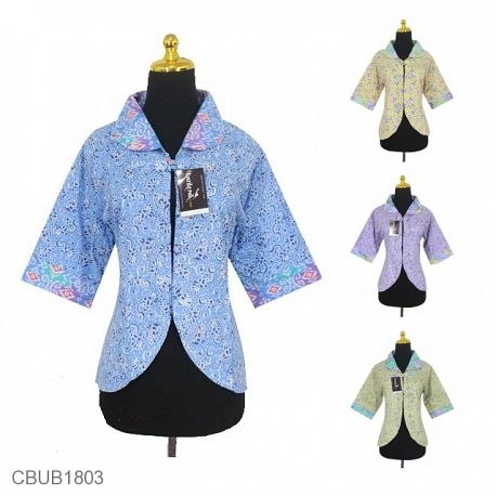 Bolero Batik Bolak-Balik Motif Songket Kombinasi Bunga Warna Soft