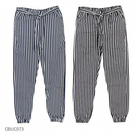 Celana Joger Katun Stretch Monochrome Stripe