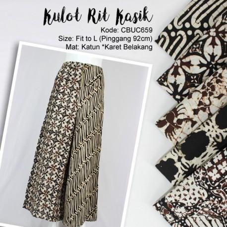 Celana Kulot Batik Cap Motif Seling Resleting
