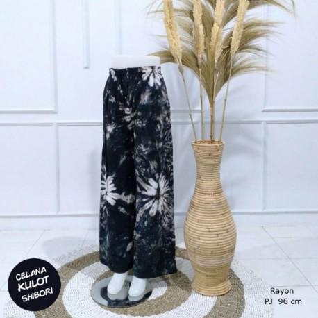 Celana Kulot Shibori Rayon Hitam