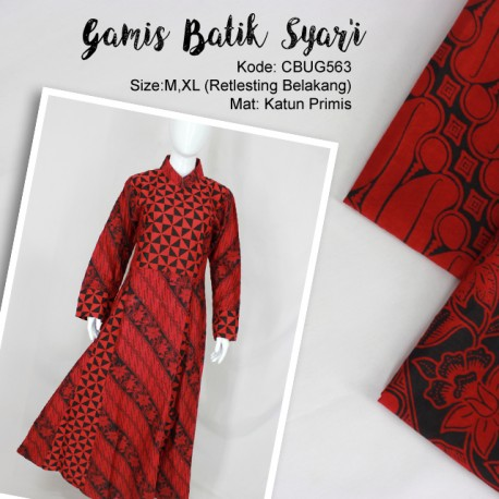 Comfy Syari Dress Batik Merah Dua