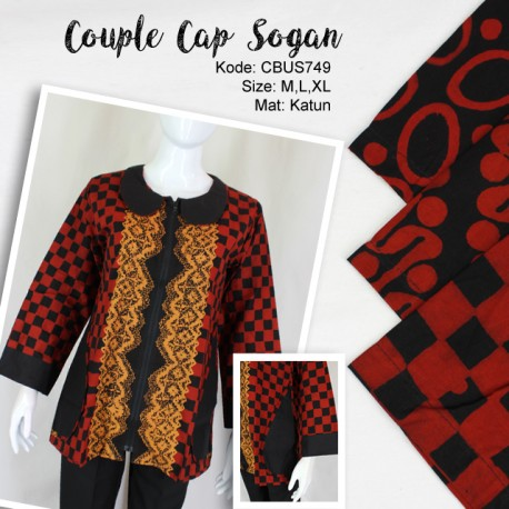 Couple Blus Sogan Motif Abstrak
