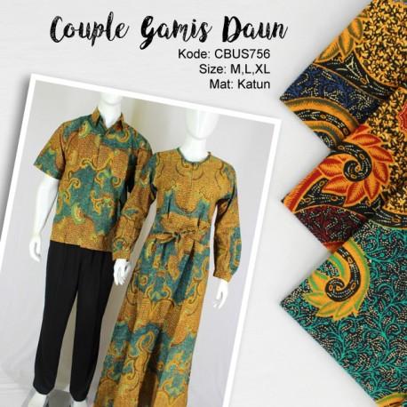 Baju Couple Batik Gamis Klok Motif Daun