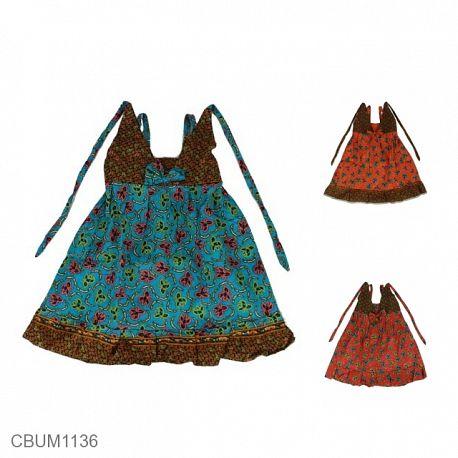 Dress Anak Aura Katun Motif Bunga Tumpal Size S