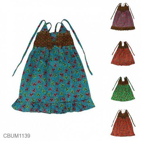 Dress Anak Aura Katun Motif Bunga Tumpal Size M