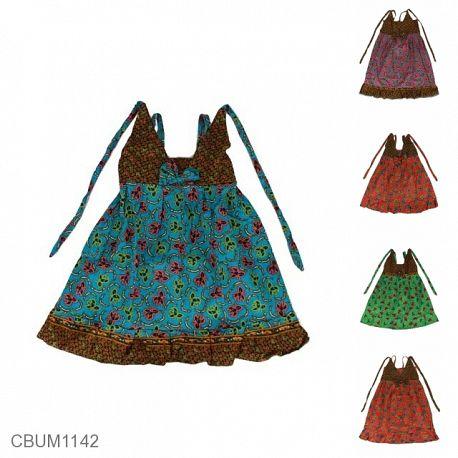 Dress Anak Aura Katun Motif Bunga Tumpal Size L