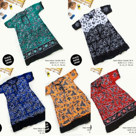 Dress Anak Daster Kaos Batik Tuban Size 3 (4-5 th)