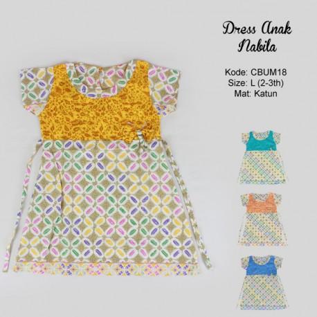 Dress Anak Nabila Motif Kawung Warna