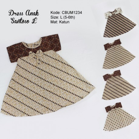 Dress Anak Nina Motif Santoso Sogan Size L