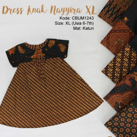 Dress Anak Nayyira Motif Klasik Size XL