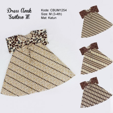 Dress Anak Nina Motif Santoso Sogan Size M