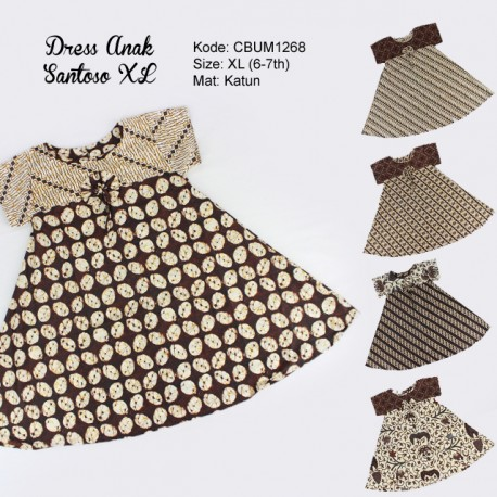 Dress Anak Nina Motif Santoso Sogan Size XL