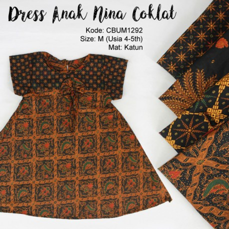 Dress Anak Nina Motif Klasik Size M